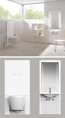 Module S50: voor in hoogte verstelbare wastafel en WC
